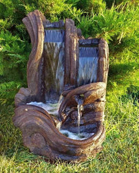 Twin Falls Log Garden Fountain, Garden Outdoor Fountains - Outdoor Fountain Pros