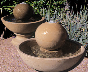 25 Inches Tall Concrete Wok Series Fountain w/ Ball - Outdoor Fountain Pros