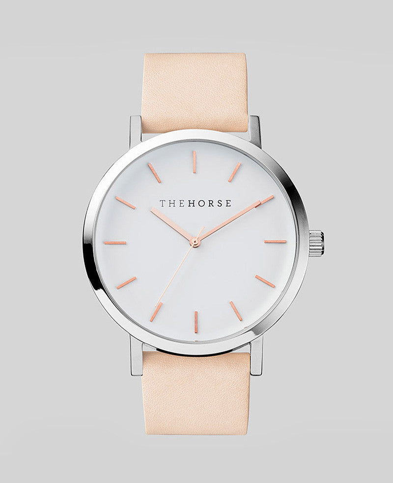 The Horse Watch - The Original - Polished Steel / White Face with Rose Gold Indexing / Vegetable Tan A8
