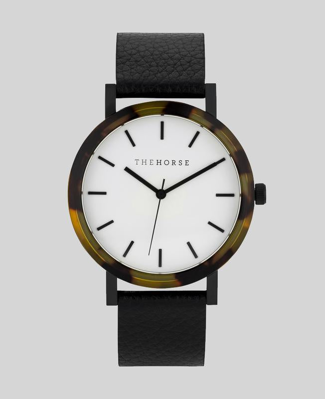 The Resin Watch - Tortoise Shell, White Dial, Black Band - E2