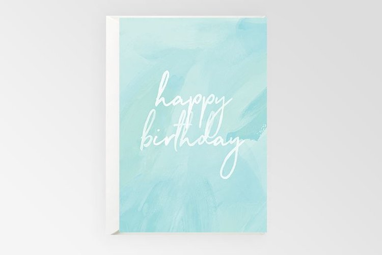 Happy Birthday Blue Watercolour Card - Mind over Manor