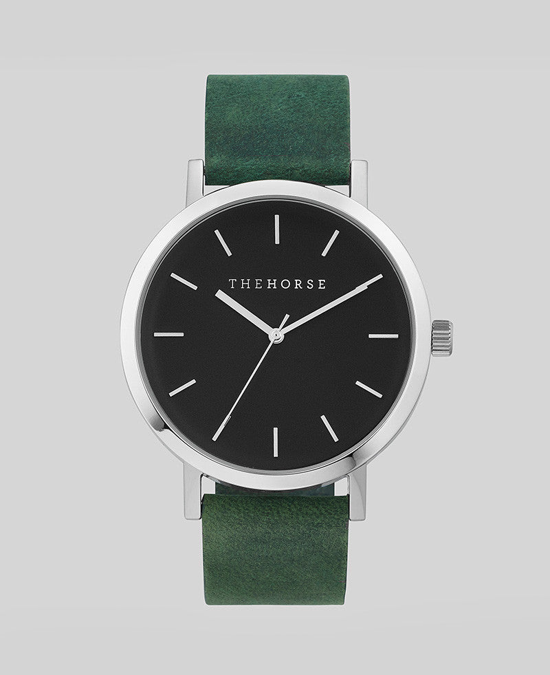 The Horse Watch - The Original - Polished Steel / Mineral Green Leather A13