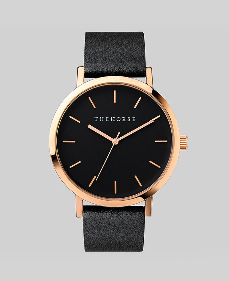 The Horse Watch - The Original - Rose Gold / Black Face / Black Leather A11