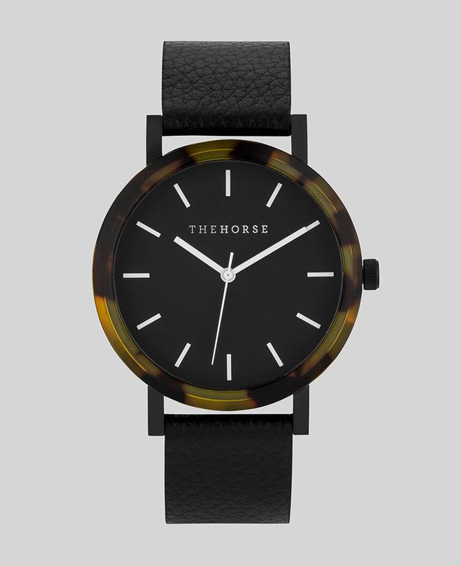 The Resin Watch - Tortoise Shell, Black Dial, Pebbled Black Band - E1