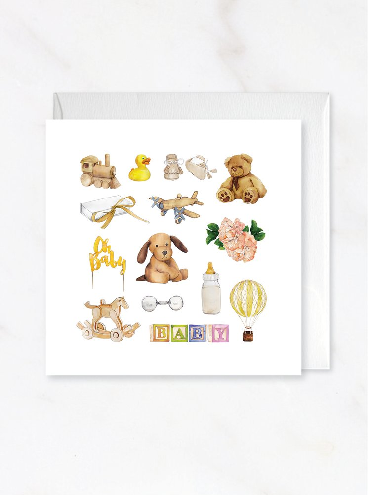 Yellow Baby Card Flatlay