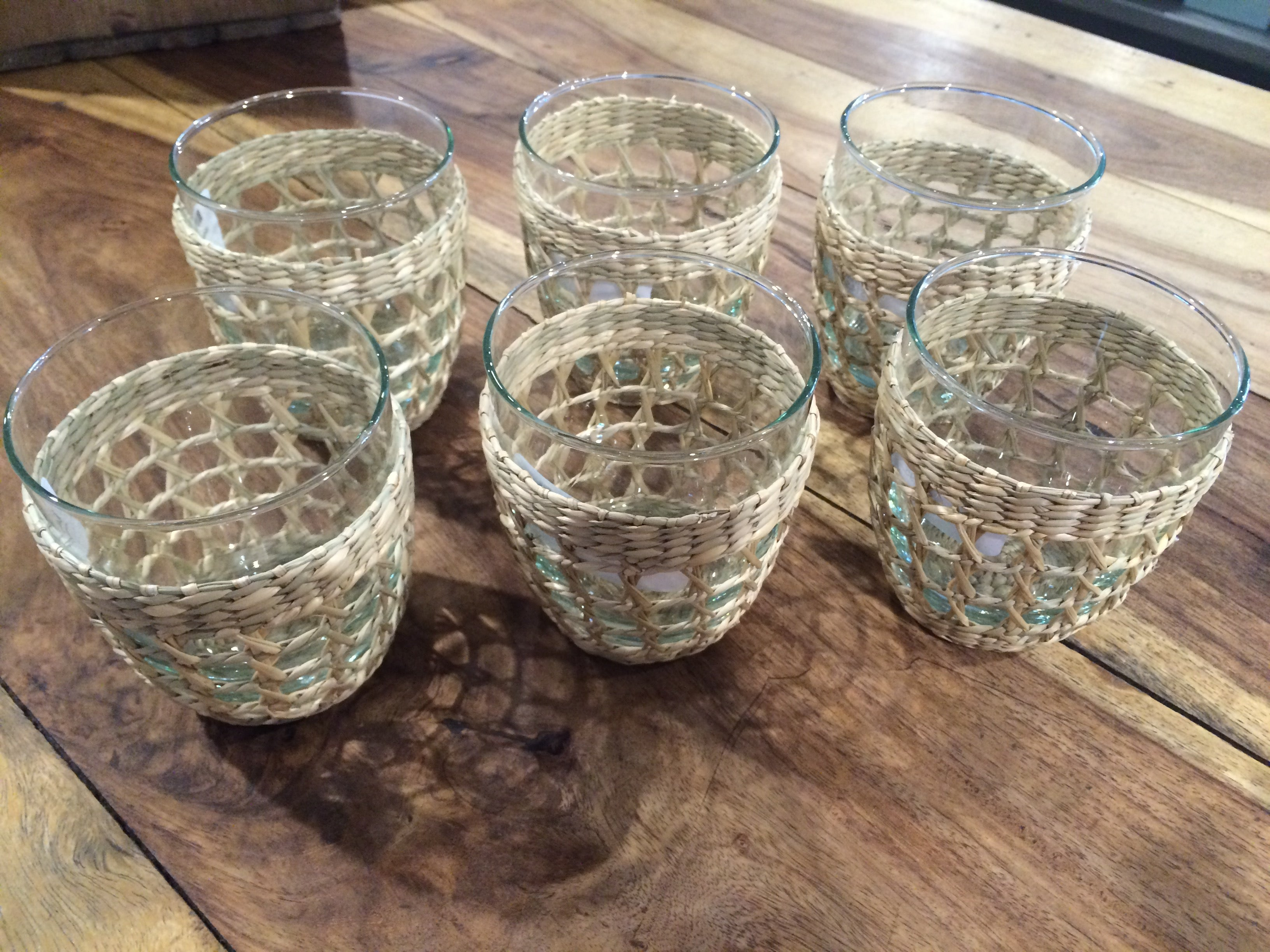 Water Glass with Seagrass Weave