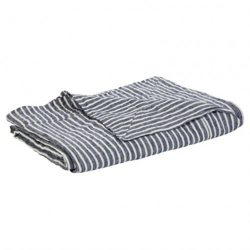 Linen Tablecloth Blue Stripe