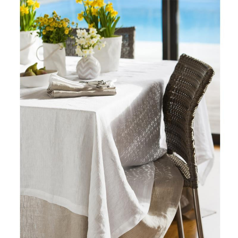 Moss White Grand Washed Linen Tablecloth 180x300cm