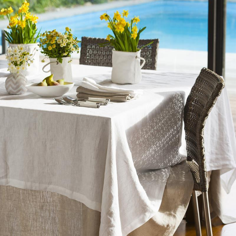 Moss Natural Grand Washed Linen Tablecloth
