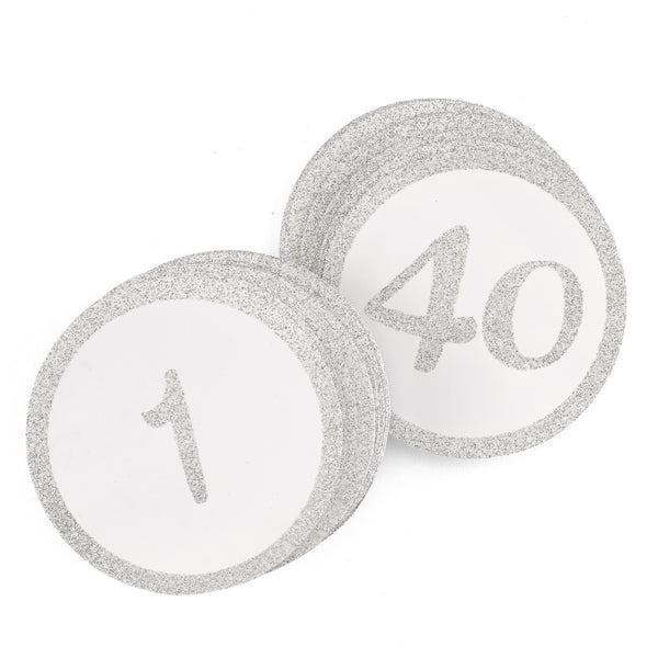 Silver Glitter Table Numbers. 1-40