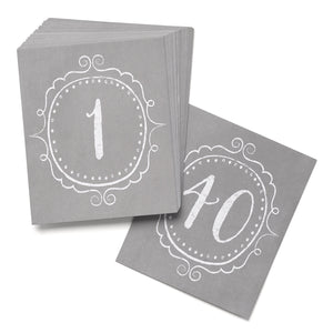 Vintage Grey Table Numbers 1-40