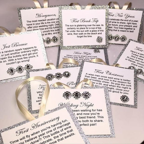 Silver Glitter Wine Tags - Set of 10