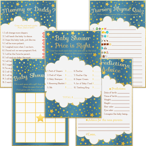 Baby Shower Games - Pack of 5 Activities (50 Each, 250 Total) - Bingo, Mommy or Daddy, Emoji, Predictions and Advice, and Price is Right …