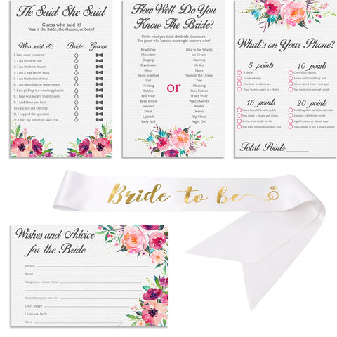"Set of 4 Vintage Watercolor Flower Themed Bridal Shower Game Card Packs with White and Gold Satin ""Bride to Be"" sash. - 5.5 x 8.5 Inches - 50 Sheets Each Game (200 Total)"