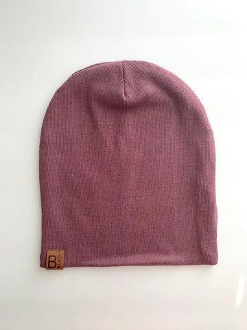 Pale Plum Ribbed Bambeanie