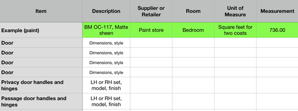 Renovation Budget Workbook (Apple Numbers format)