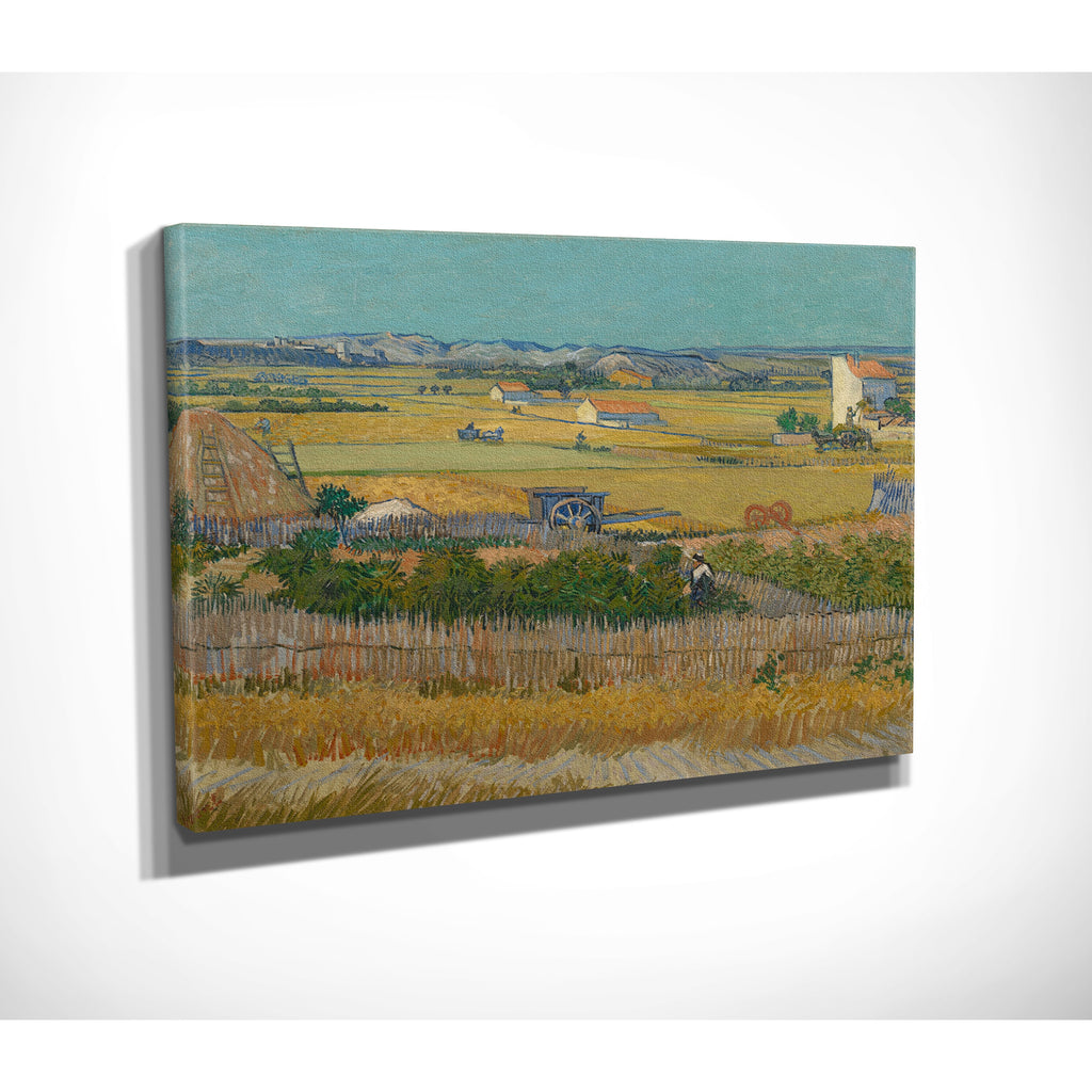 'A Harvest Landscape with Blue Cart' by Vincent van Gogh Painting Print on Canvas