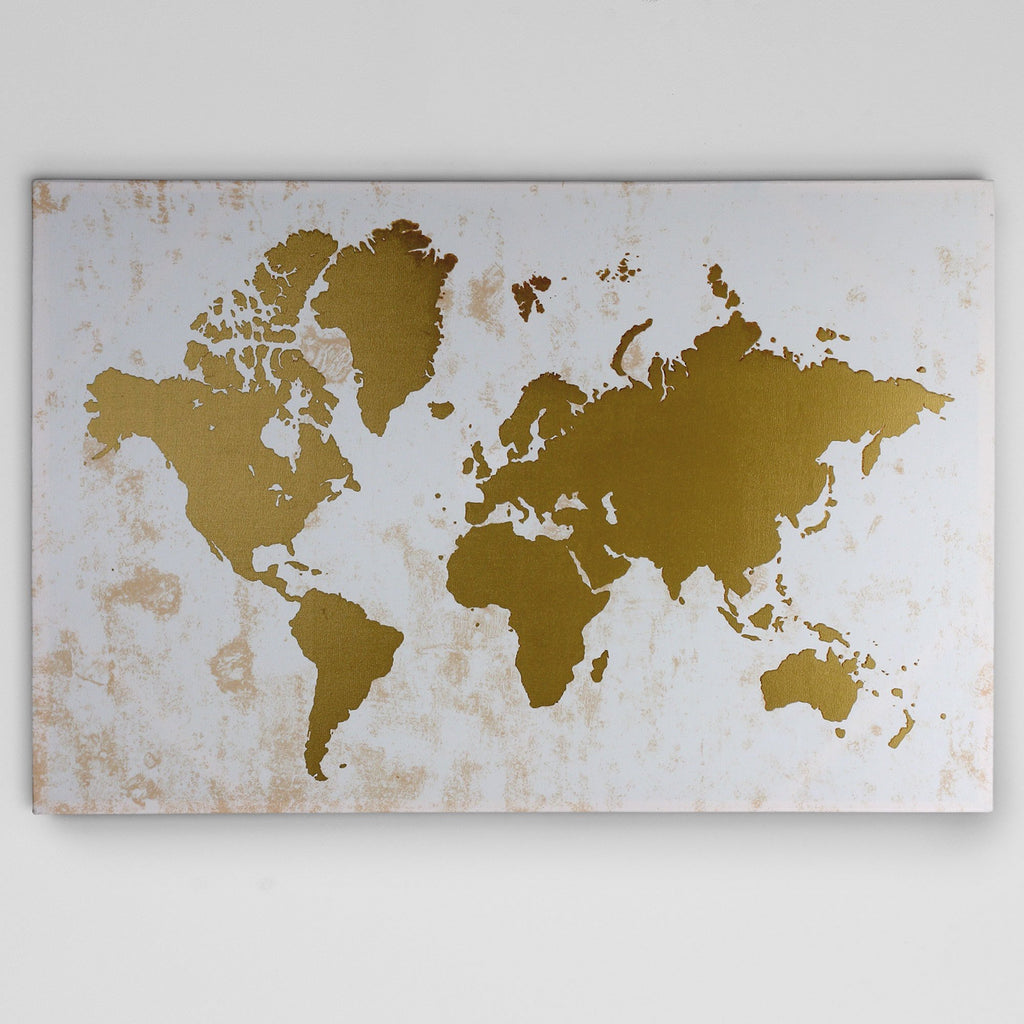 Wexford Home 'Champagne Gold Map' Wall Art