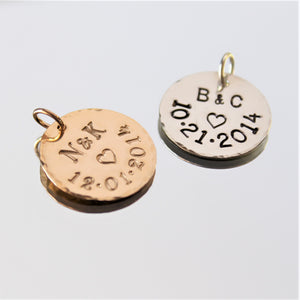 Large personalized name/date pendant - 18mm