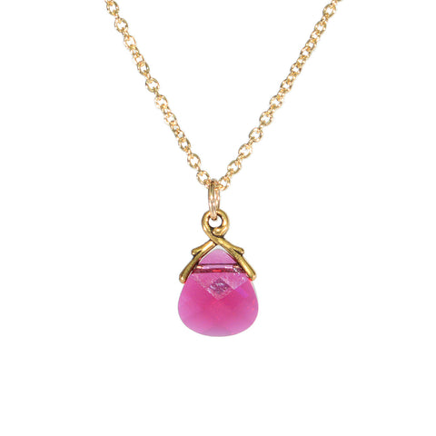 Crystal necklace - ruby red crystal briolette on gold filled chain