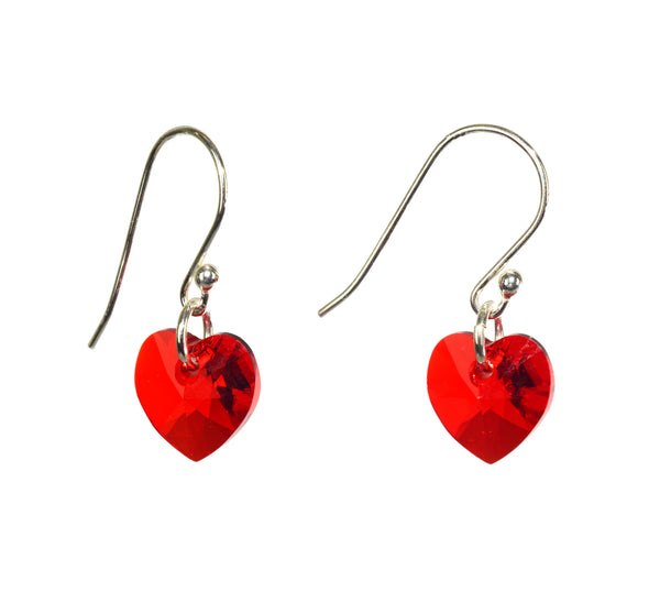 Crystal heart earrings - Swarovski crystal