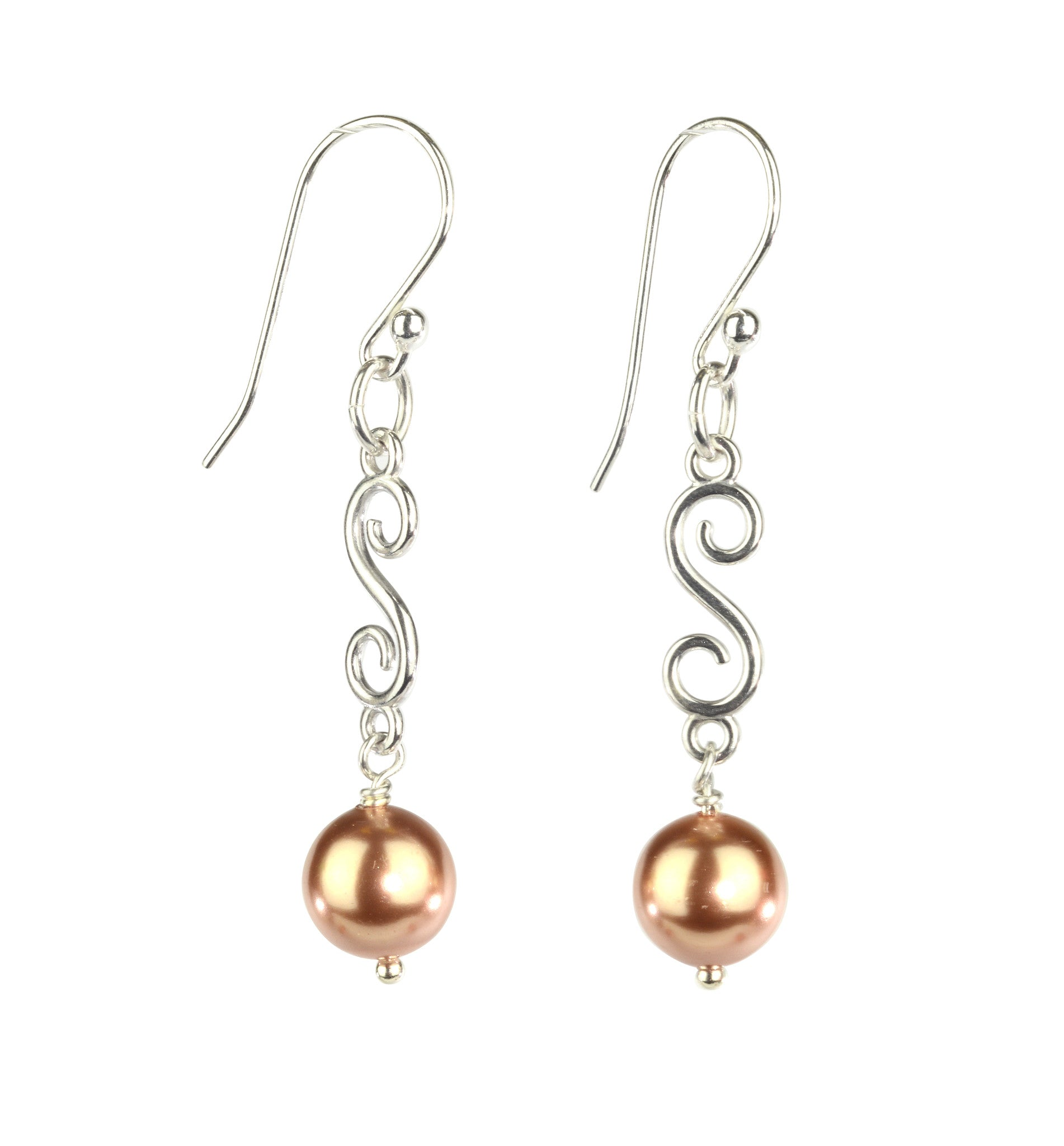 Fancy spiral earrings with drop in sterling silver
