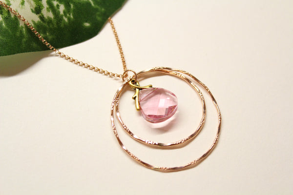 Double circle long necklace with crystal pendant