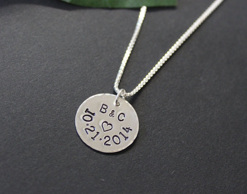 Sterling Silver Anniversary Necklace  - Personalized hand stamped necklace
