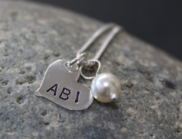 Heart name necklace with pearl accent - Sterling Silver Hand Stamped Name Necklace