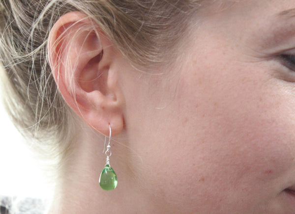 Czech glass drop earrings - Sterling silver