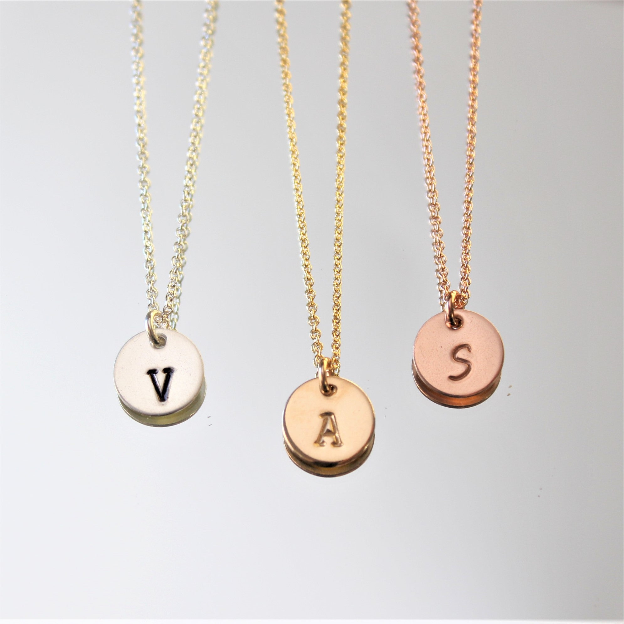 Personalized hand stamped small initial necklace