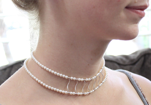 Pearl and silver choker necklace - edgy elegant wear