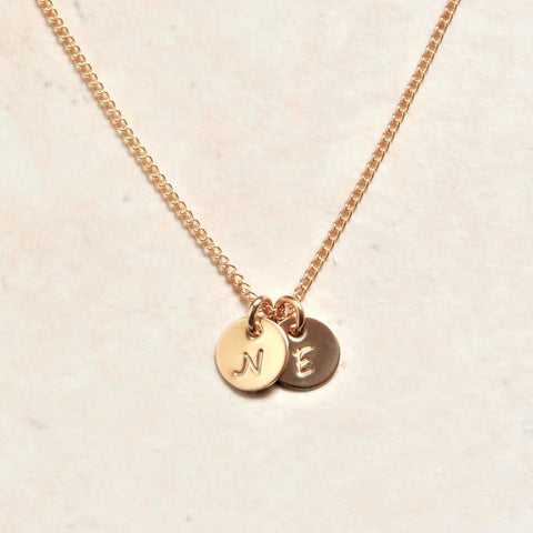 Tiny Initial Necklace in 14k Yellow Gold