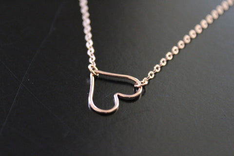 Rose Gold Filled Open Heart Necklace