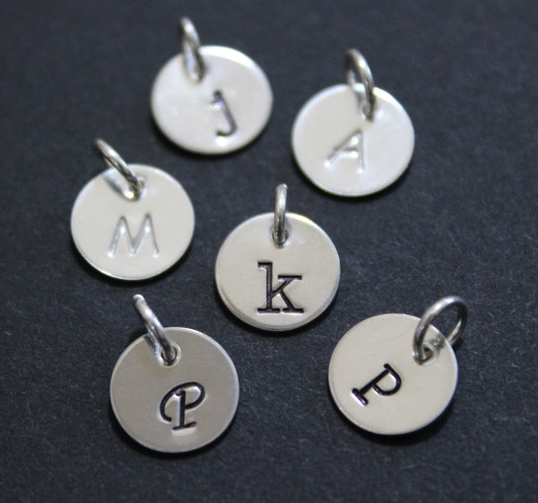 "Sterling silver initial charm - 9.5mm (3/8"")"