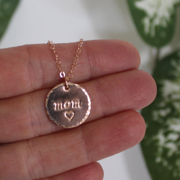 "Name/date necklace - personalized necklace 15.9mm (5/8"") disc"