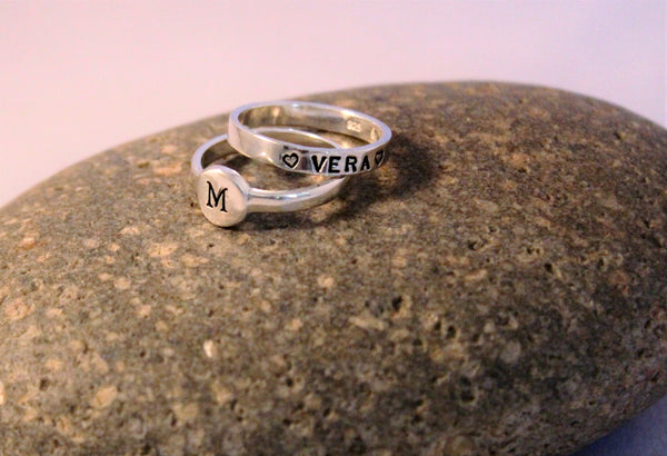 Sterling silver initial ring, personalized ring with round pad.