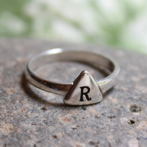 Sterling silver initial ring, personalized ring with triangle pad, stacking ring