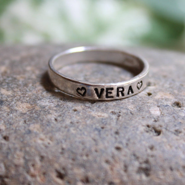 Sterling silver personalized name ring, stacking ring