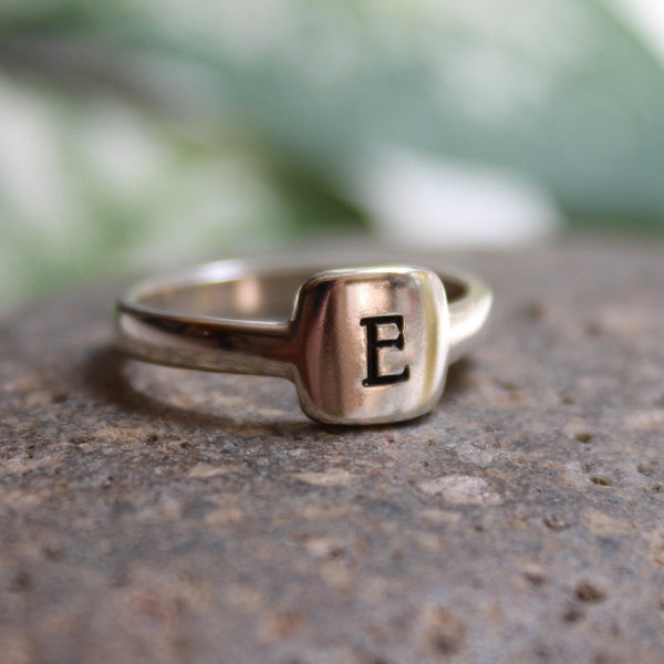 Sterling silver initial ring with square pad