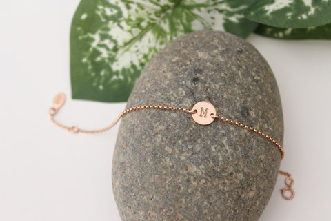 Rose Gold Filled Initial Bracelet