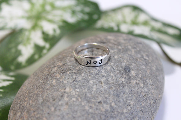 Sterling silver initial ring with rectangle pad