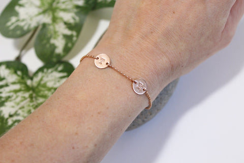 Rose Gold Filled Two Initials Bracelet