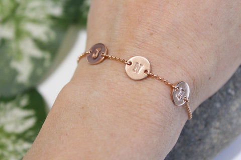 Rose Gold Filled Three Initials Bracelet