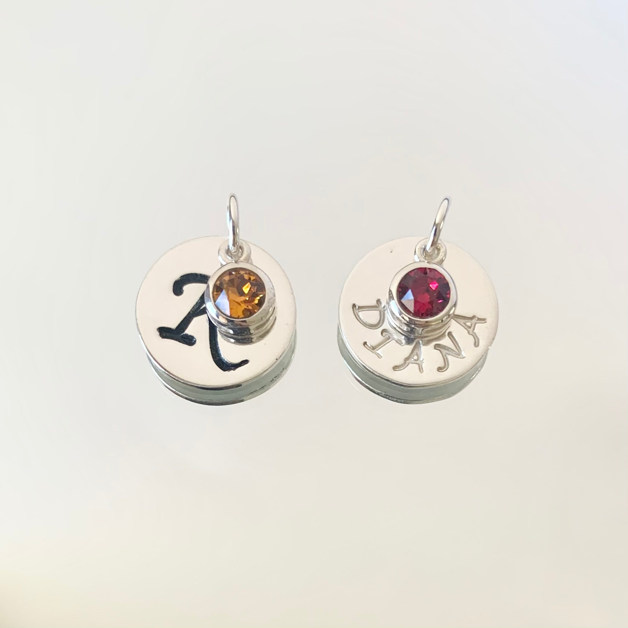 Initial and birthstone charm - sterling silver
