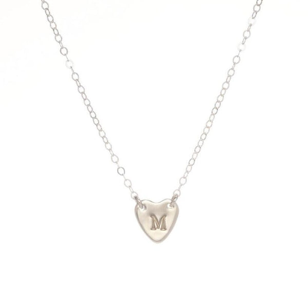 Small connected heart initial necklace in sterling silver