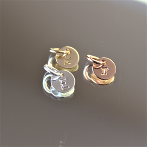 "Tiny round initial charm - 1/4"" (6.4mm)"