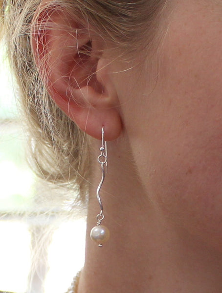 Silver spiral tube and pearl earrings