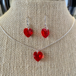 Sparkle heart set - necklace and earrings