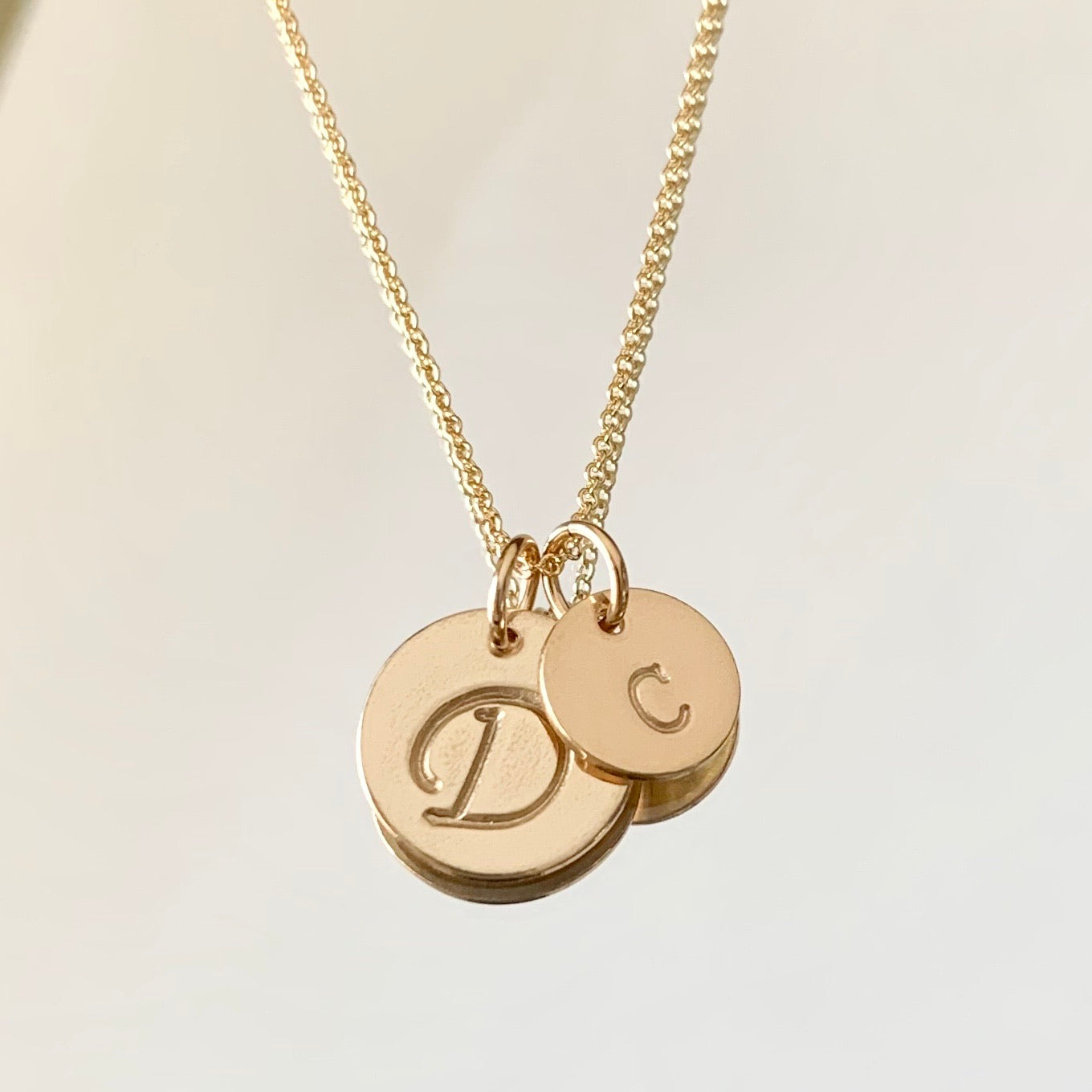 Big initial little initial necklace